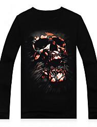 economico -MEN - T-shirt - Informale/Stampa/Feste Rotondo - Maniche lunghe Cotone/Modal