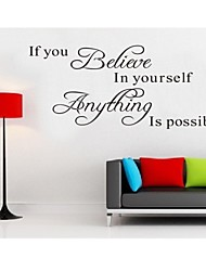 cheap -Believe In Yourself Home Decor Quote Wall Decal Decorative Adesivo De Parede Removable Wall Sticker