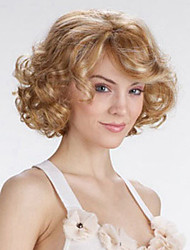cheap -Synthetic Wig Curly / Body Wave Asymmetrical Haircut Synthetic Hair Highlighted / Balayage Hair Blonde Wig Women's Short Capless