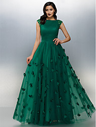 cheap -A-Line Bateau Neck Floor Length Tulle Formal Evening Dress with Beading Flower Ruched Side Draping by TS Couture®