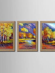 pintura a óleo decoração cenário abstrato pintado à mão de linho natural com esticada enquadrado - conjunto de 3