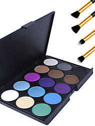15 Farben professionellen Make-up-warme nackte Lidschatten matte Schimmer Palette Kosmetik + 4pcs Bleistift Make-up Pinsel