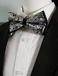 cheap -Men's Black White Flower Silk Blend Pre-tied Bow Tie Ajustable Dress Wedding