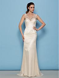 baratos -Lanting Bride® Tubinho Pequeno Vestido de Noiva Transparências Cauda Escova Drapeado Renda com