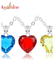 cheap -Topaz Pendant Necklace - Silver Plated Heart, Love Yellow, Red, Blue Necklace For Wedding, Party, Daily