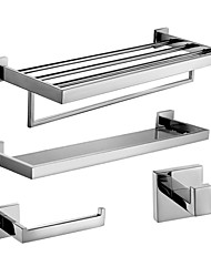 cheap -Polish Stainless Steel Bath Accessories Set with Glass Shelf Toilet Paper Holder Towel Shelf with Bar and Robe Hook