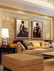 cheap -Oil Painting Decoration People Hand Painted Natural Linen with Stretched Framed - Set of 2