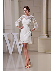 cheap -A-Line Jewel Neck Knee Length Lace Wedding Dress with Lace by LAN TING BRIDE®