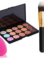 economico -pro partito 15 colori crema contorno trucco viso correttore palette + pennello in polvere + power puff