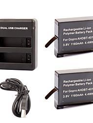 abordables -defery-de 1160mah récent AHDBT-401 batterie + chargeur USB double pour GoPro Hero 4 gopro4 caméra HD