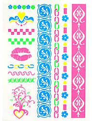 abordables -2016 nuevos 4pcs fluorescente tatuaje temporal pintura pegatina