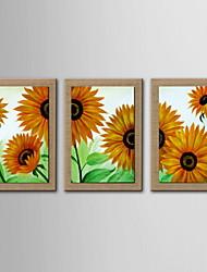 pittura a olio di girasole astratto dipinto a mano di lino naturale con Stretched incorniciato - set di 3