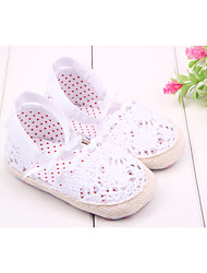 Girls' Baby Shoes Fabric Tulle Spring Summer Fall First Walkers Comfort Flats Bowknot For Casual Outdoor Dress White Pink