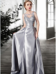 A-Line Illusion Neckline Floor Length Lace Satin Tulle Formal Evening Dress with Lace by TS Couture®
