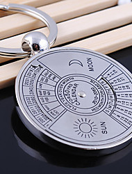 Stainless Steel English Perpetual Calendar Key Chain Ring Keyring