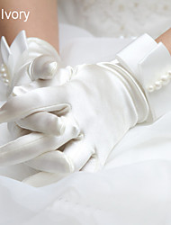 Elastic Satin Wrist Length Glove Bridal Gloves Party/ Evening Gloves Winter Gloves With Pearls
