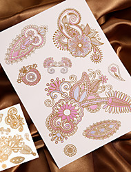 economico -Tatuaggi adesivi - Serie fiori Da donna/Da uomo/Adulto/Teen - 4 - Modello - di Carta - 27*15*0.2cm - Oro/Multicolore -