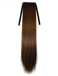 abordables -Marron Synthetic Queue de cheval Droit (Straight) Micro Ring Hair Extensions Queue de cheval 22inch gramme Moyen (90g-120g) Quantité