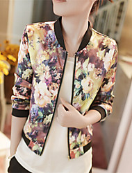 cheap -Women's Casual/Daily Spring Fall Jacket,Floral Print Floral Print Stand ½ Length Sleeve Regular Polyester