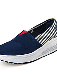 Women's Loafers & Slip-Ons Spring Summer Fall Winter Canvas Casual Wedge Heel Navy Blue Red Green Walking
