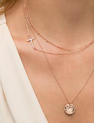 Недорогие -Женский Крест Слоистые ожерелья Сплав Слоистые ожерелья ,