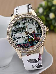 Недорогие -z.xuan женщин / мужчин стали группа аналоговый кварцевый случайные часы