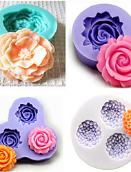 Set of 4 Bakeware Silicone Fondant Mold Cake Decoration Mold (Random Color)