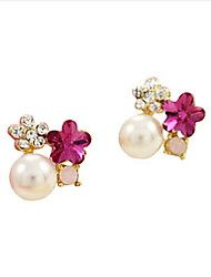 cheap -Temperament Five Leaves And Flowers Of Plum Crystal Diamond Pearl Earring