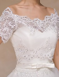 cheap -Wedding  Wraps Boleros Short Sleeve Lace Ivory Bolero Shrug