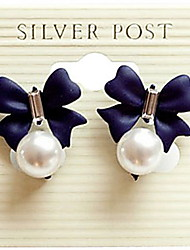 cheap -Korean version of The Import Sweet Diamond Bow Pearl Pendant Earrings