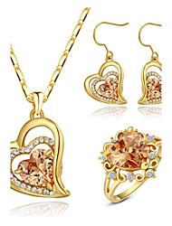 abordables -Femme Cristal Cristal / Zircon Ensemble de bijoux Anneaux / Boucles d'oreille / Colliers décoratif - Amour Set de Bijoux Pour Mariage /
