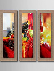 pintura a óleo decoração mão abstrata pintada de linho natural com esticada enquadrado - conjunto de 3