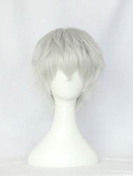 cheap -Cosplay Wigs Cosplay Cosplay White Short Anime/ Video Games Cosplay Wigs 30 CM Heat Resistant Fiber Male / Female
