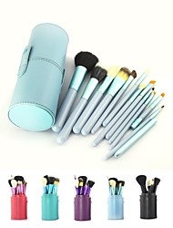 cheap -12PCS Blue Cosmetic Set Eyeshadow Wood Brush Blusher Blue Holder Make Up Brushes Estojo De Maquiagem Pinceis