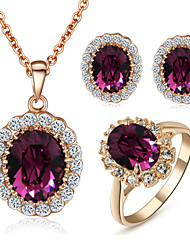 cheap -Women's Crystal Crystal / Cubic Zirconia / Imitation Diamond Jewelry Set Rings / Earrings / Necklace - Purple Jewelry Set For Wedding /