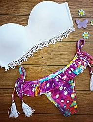 cheap -Women's Print Floral Bandeau Bikini Swimwear,Spandex Lace White