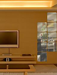 6pcs forme quadrangulaires miroir bricolage stickers muraux art décalques (16 * 16cm)