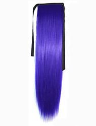 abordables -New Purple Synthetic Queue de cheval Droit (Straight) Micro Ring Hair Extensions Queue de cheval 22inch gramme Moyen (90g-120g) Quantité