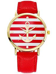 Damen Modeuhr Quartz PU Band Streifen Rot Braun Rosa