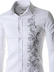 cheap -Men's Casual/Work/Formal Pure Long Sleeve Regular Shirt (Acrylic/Cotton Blend/Lycra)