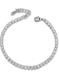 cheap -T&C Women's Crystal Wedding Jewelry 18K White Gold Palted Rhinestones Swiss Cubic Zirconia Chain Tennis Bracelet