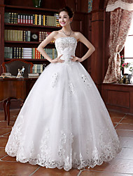 cheap -Ball Gown Strapless Floor Length Beaded Lace Custom Wedding Dresses with Beading Appliques by Embroidered Bridal