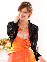 cheap -Long Sleeve Polyester / Lace Wedding / Party Evening / Casual Wedding  Wraps With Embroidery Shrugs