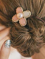 New Style Pearl Clovers Flower Elastic Hair Bands Elastic Rope