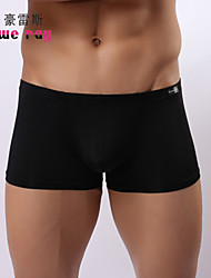 cheap -Men's Ice Silk Boxers Underwear Solid Colored Mid Rise