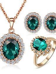 T&C Women's Elegant Cz Diamond Jewelry 18K Rose Gold Pated Emerald Green Crystal Pendants Necklaces Earrings Ring Sets