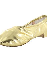 abordables -Mujer Ballet Yoga Gimnasia Semicuero Tacones Alto Suela Dividida Interior Tacón Cuadrado Plata Oro No Personalizables