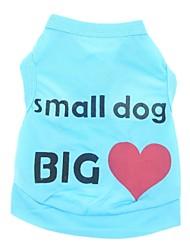 Недорогие -Кошка Собака Футболка Одежда для собак С сердцем Буквы и цифры Синий Розовый Терилен Костюм Для домашних животных Муж. Жен. На каждый