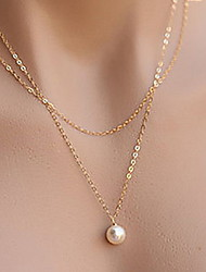 cheap -Simple Elegant Pearl Double Chain Alloy Pendant Necklace