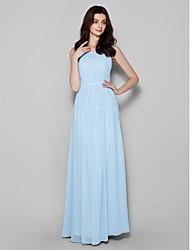 cheap -Sheath / Column Scoop Neck Floor Length Chiffon Bridesmaid Dress with Draping by LAN TING BRIDE®